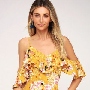 Golden Hours Mustard Yellow Floral Print Off-the-S